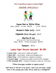 Ladies Night Drink Specials