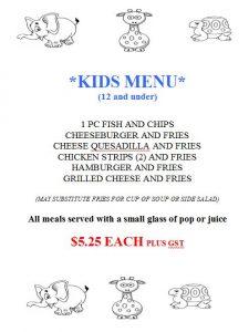 kids menu 2017
