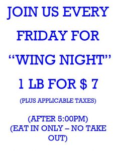 WING NIGHT FRIDAY