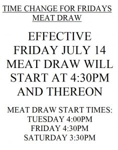 Meat Draw Time Change 2017