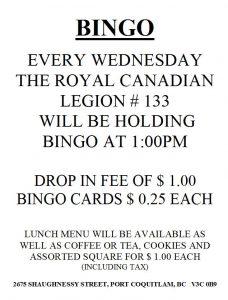 Wednesday Bingo 2017