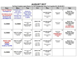 AUGUST 2017 CALENDER