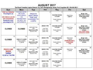AUGUST 2017 CALENDER