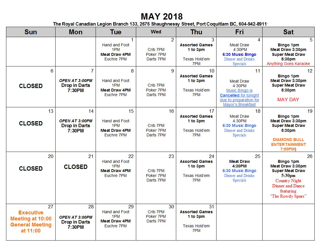 Calendar May Events : Calendar of events port coquitlam legion
